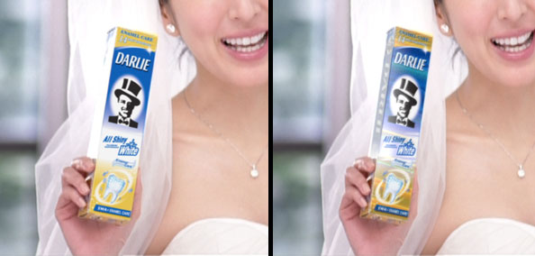 Left: The new pack design tracked in. Right: Reflections and metallic shimmers were added during compositing, as well as fixing the overexposed side of the box.