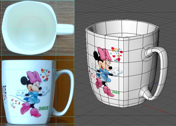 Left: Photo references of the actual mugs. Right: The 3d model.
